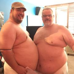 First and second prize winners Dwaine (l) and Bob (r) showing that off their winning bellies.