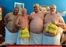 Jose, Larry (4th place), Dwaine and Bob. Larry and Bob holding up their gift bags curtesy from Chubs in Paradise.