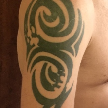 Mike's tribal tattoo that he helped design.
