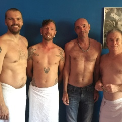 The four contestants in today's Best Tattoo Contest at #bearsinexcess. (From left to right) Mike, Blair, Bill, and Richard.